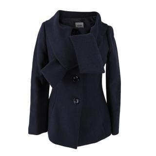Moschino Cheap & Chic Navy Wool Shawl Collar Coat