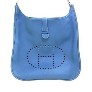 Hermes Blue Clemence Leather Evelyne II GM