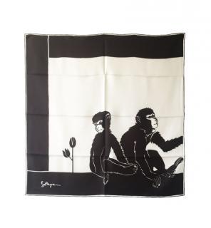 Bottega Veneta Monkey Print Brown Silk Scarf 90