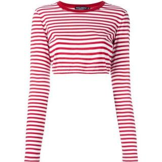 Dolce & Gabbana Red & White Crop Striped Tee