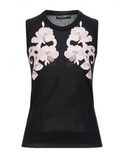 Dolce & Gabbana Black Floral Applique Cashmere Knit Top