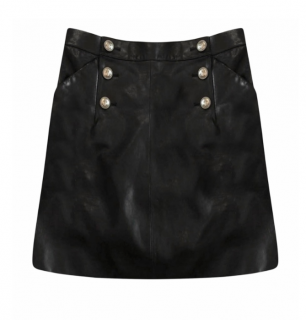 Chanel Paris/Hamburg Black Leather A-Line Mini Skirt