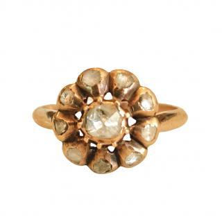 Bespoke Georgian 15ct Gold Rose Cut Diamond Cluster Ring