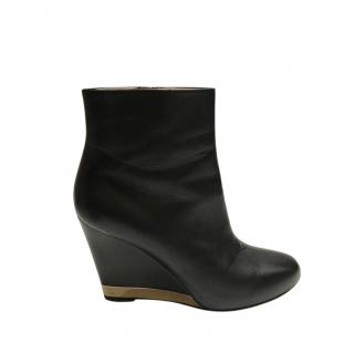 Chanel Black Leather Wedge Ankle Boots
