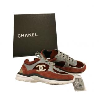 Chanel Brown & Grey Suede & Leather CC Sneakers