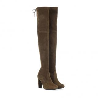 Stuart Weitzman Highland Military Green Suede Over-the-Knee Boots