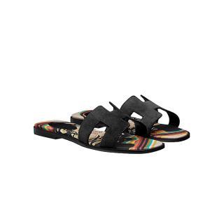 Hermes Black Suede Oran Sandals with Brides De Gala Insole