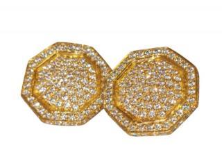 Bespoke 18ct Yellow Gold Hexagonal Diamond Earrings