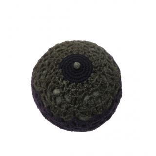 Prada Grey & Purple Crochet Pill Hat
