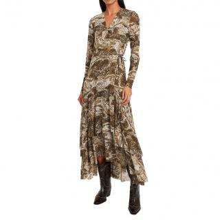 Ganni Marble Print Midi Wrap Dress