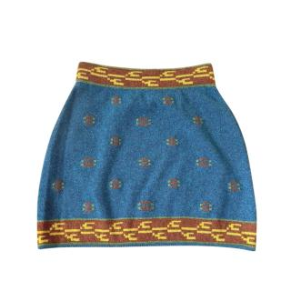 Chanel 2021 CC Logo Cashmere Knit Mini Skirt