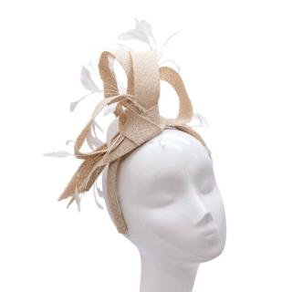 Marzi Firenze Beige Straw Bow & Feather Fascinator Headband