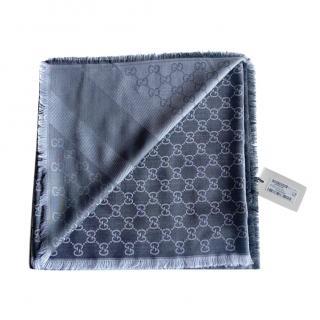 Gucci Grey Supreme Reversible Wool & Silk Scarf