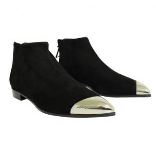 Miu Miu Black Suede Ankle Boots with Silver Cap-Toe