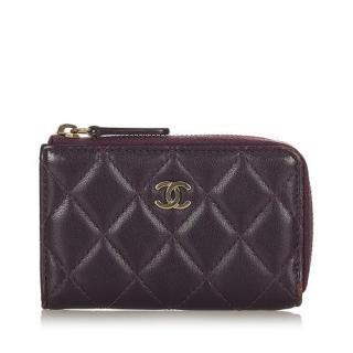 Chanel Purple Quilted Classic Half Zip Wallet