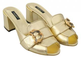 Dolce & Gabbana Gold Leather Devotion Mules