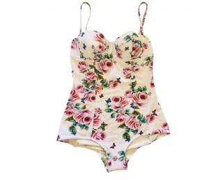 Dolce & Gabbana White Floral Print Balconette Swimsuit