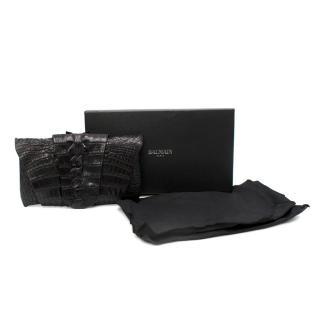 Balmain Black Crocodile Leather Wrap Clutch