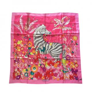 Ferragamo Pink Butterfly Floral Print Scarf
