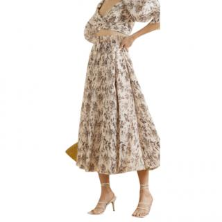 Zimmermann Ivory Wild Botanic Pleated Midi Skirt