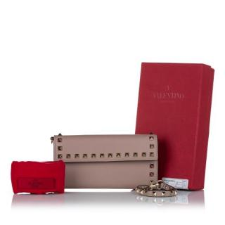 Valentino Poudre Rockstud Leather Travel Wallet