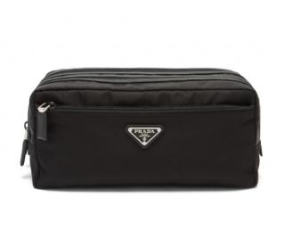 Prada triangle logo-plaque zip-pocket nylon wash bag