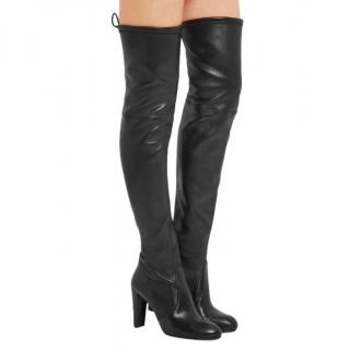 Stuart Weitzman Highland Black Smooth Leather Over-the-Knee Boots
