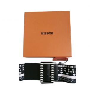 Missoni Black & White Stretch Knit Belt - Size S