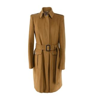 Burberry Camel Cashmere & Wool Belted Trench Coat