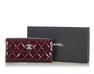 Chanel Burgundy Patent Leather Quilted Flap Wallet