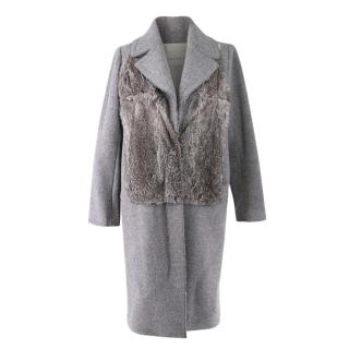 Sandro Grey Marl Rabbit Fur & Wool Long Coat