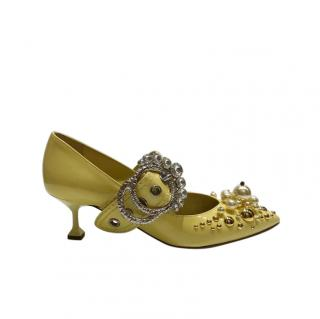 Miu Miu Embellished Patent Mary-Janes