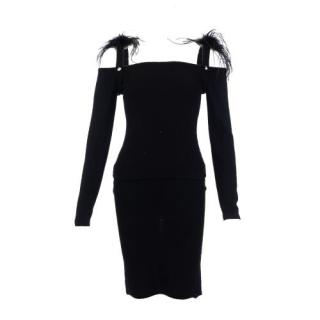 Sonia Rykiel Feather Trim Cold-Shoulder Top & Skirt