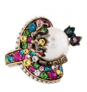 Gucci Pearl Multicolour Crystal Flower Ring - Size 13