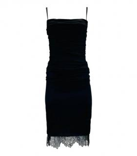 Dolce & Gabbana Black Ruched Silk Lace Trim Dress