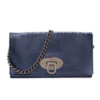 Mulberry Navy Metallic Crackle Coated Suede Wallet on Chain