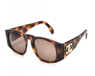 Chanel CC Quilted Tortoiseshell Sunglasses