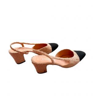 Chanel Peach/Pink & Black Tweed Grosgrain Cap-Toe Slingbacks