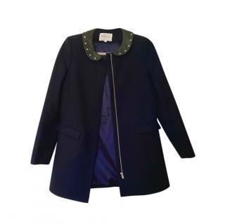 Claudie Pierlot Navy Contrast Collar Wool Coat