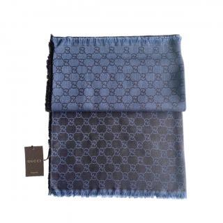Gucci Blue-Gray Reversible Monogram Wool & Silk Scarf