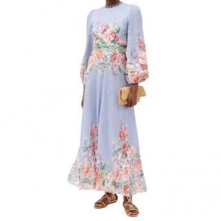 Zimmermann Bellitude cornflower floral-print linen dress