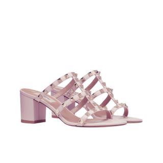 Valentino Rose Rockstud Calfskin Slide Sandal 60 mm