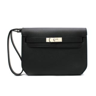 Hermes Black Epsom Leather Kelly Depeches Pouch 25 PHW