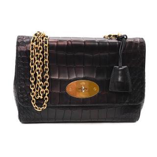 Mulberry Lily Medium Metallic Black Croc Embossed Leather Shoulder Bag