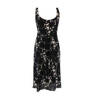 Prada Black & Sheer White Floral Print Wrap Dress