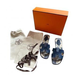 Hermes Blue Limited Edition Oran Sandals