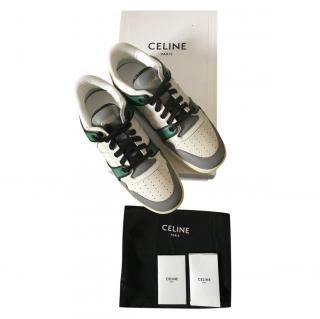 Celine White/Green Triomphe Dunk Low Sneakers