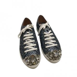 Miu Miu Crystal Embellished Blue Glitter Sneakers