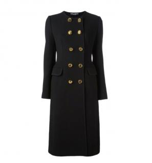 Dolce & Gabbana Black Wool Twill Double Breasted Frock Coat
