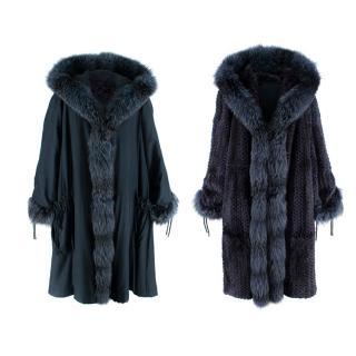 Fendi Vintage Hooded Reversible Navy Fox/Chinchilla Fur & Silk Coat